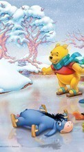 Lade kostenlos 1080x1920 Hintergrundbilder Cartoon, Winter, ice, Snow, Drawings, Winnie the Pooh für Handy oder Tablet herunter.