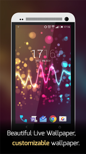 Download Musik Live Wallpaper Beautiful music visualizer für Android kostenlos.