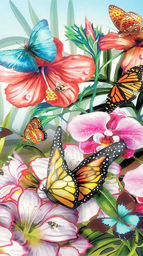 Download Interaktiv Live Wallpaper Butterflies by Happy live wallpapers für Android kostenlos.