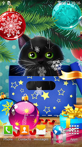 Download Tiere Live Wallpaper Christmas cat für Android kostenlos.