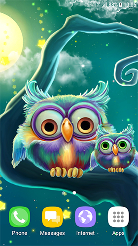 Download Tiere Live Wallpaper Cute owls für Android kostenlos.