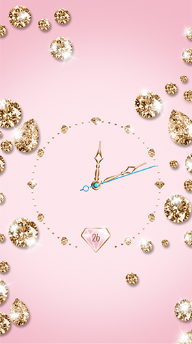 Download Hintergrund Live Wallpaper Gold and diamond clock für Android kostenlos.