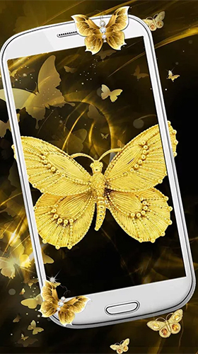 Download Tiere Live Wallpaper Gold butterfly für Android kostenlos.