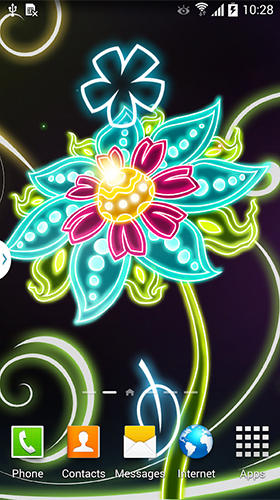 Download Blumen Live Wallpaper Neon flowers by Live Wallpapers 3D für Android kostenlos.