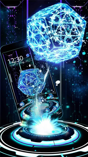 Download Hi-Tech Live Wallpaper Neon pentagon 3D für Android kostenlos.