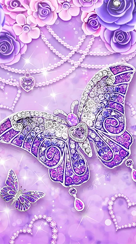 Download Hintergrund Live Wallpaper Purple diamond butterfly für Android kostenlos.