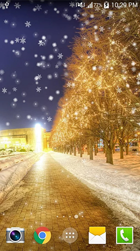 Kostenlos Live Wallpaper Snowy night by Live wallpaper HD für Android Smartphones und Tablets downloaden.