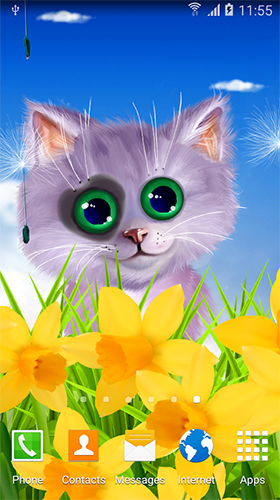 Download Tiere Live Wallpaper Spring cat für Android kostenlos.