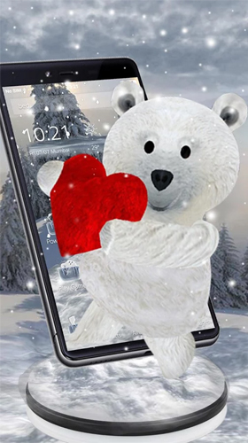 Kostenlos Live Wallpaper Teddy bear: Love 3D für Android Smartphones und Tablets downloaden.