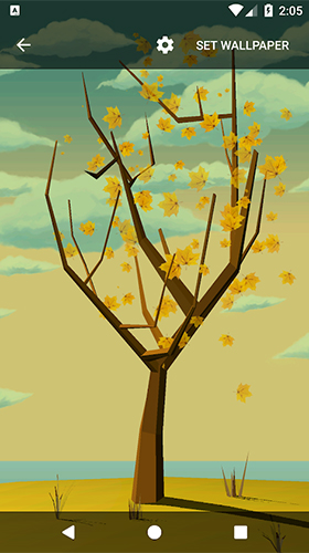 Kostenlos Live Wallpaper Tree with falling leaves für Android Smartphones und Tablets downloaden.