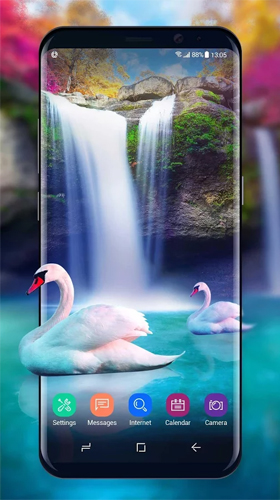 Download Tiere Live Wallpaper Waterfall and swan für Android kostenlos.