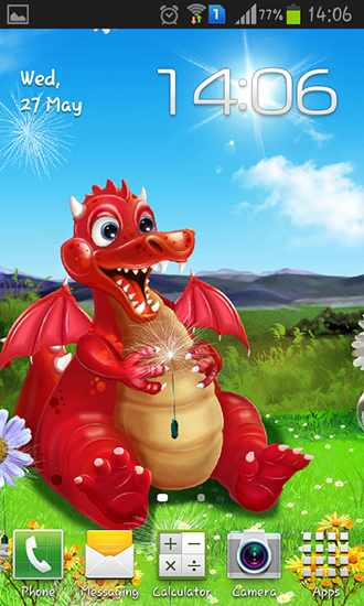 Kostenlos Live Wallpaper Cute dragon für Android Smartphones und Tablets downloaden.
