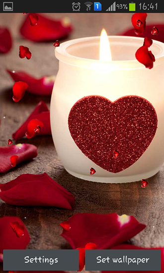 Kostenlos Live Wallpaper Valentines Day: Candles für Android Smartphones und Tablets downloaden.