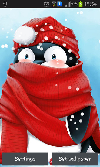 Download Interaktiv Live Wallpaper Winter penguin für Android kostenlos.