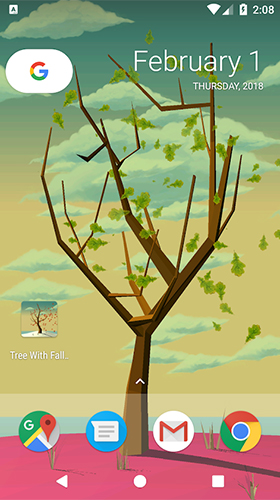 Bildschirm screenshot Tree with falling leaves für Handys und Tablets.