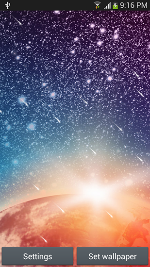Bildschirm screenshot Meteor shower by Top live wallpapers hq für Handys und Tablets.