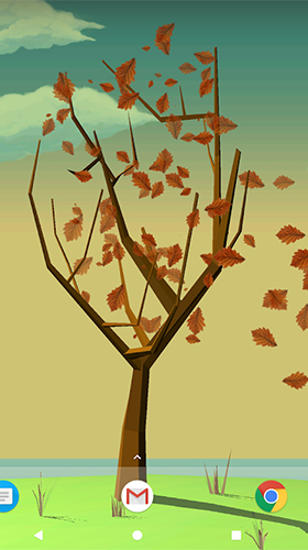 Tree with falling leaves